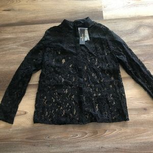 NWT Worthington all over sheer lace button down